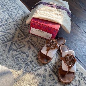 Tori Burch metal Miller Sandal size 8